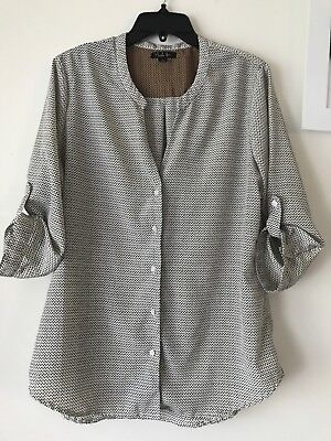 Antilia Femme Womens Blouse Button Up Black Dots Sz L Cream Off White Pattern