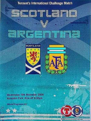 Scotland v Argentina Friendly International 19/11/2008 Maradona 1st game. MINT.
