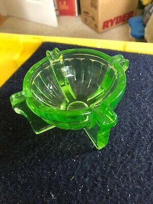 Vintage green depression retro glass ashtray glows uranium