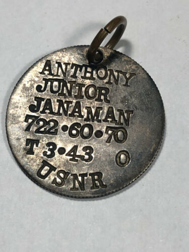 WWII USNR Naval Reserve Dog Tag T 3-43 Silver United States Military
