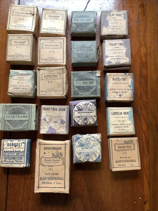 Lot Of 20 Antique Apothecary Medicinal Herbs Drug c 1900