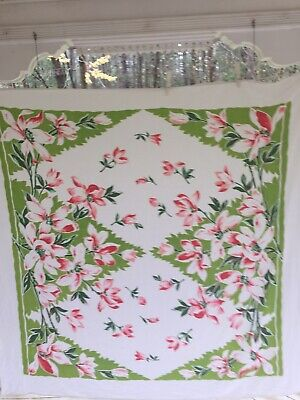 Vintage Chartreuse Green & Pinks Lily Tropical Floral Print Tablecloth Gorgeous