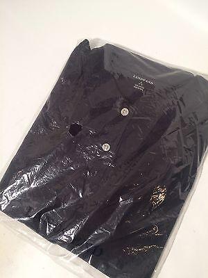 NWT Land's End Golf shirt black sz L (14-16) shrt slve 100% cottn-  in plastic