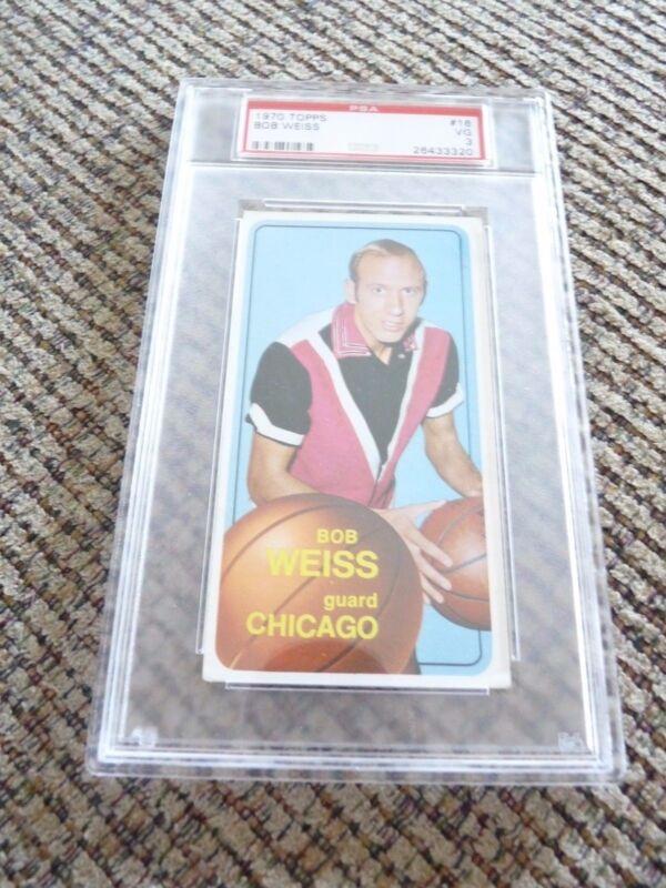 Bob Weiss 1970 Topps Tall Boy #18 Basketball Card PSA Graded Slabbed VG 3