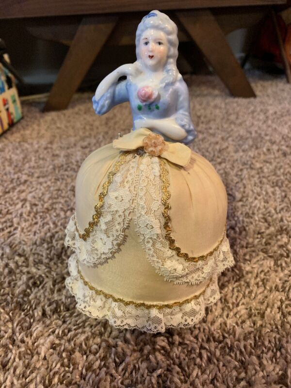 Antique Victorian Half Doll Porcelain Lady Figurine Pin Cushion sewing