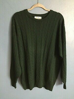 PRINGLE OF SCOTLAND 100% LAMBSWOOL CABLEKNIT SWEATER SIZE XL GREEN