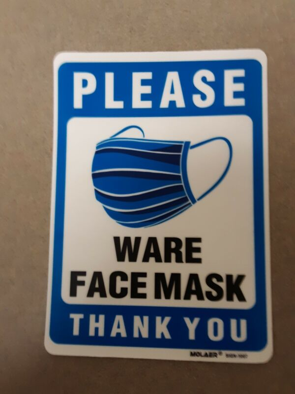 Please Wear (Ware) Face Mask Thank You Back Vinyl Decal Sticker Sign