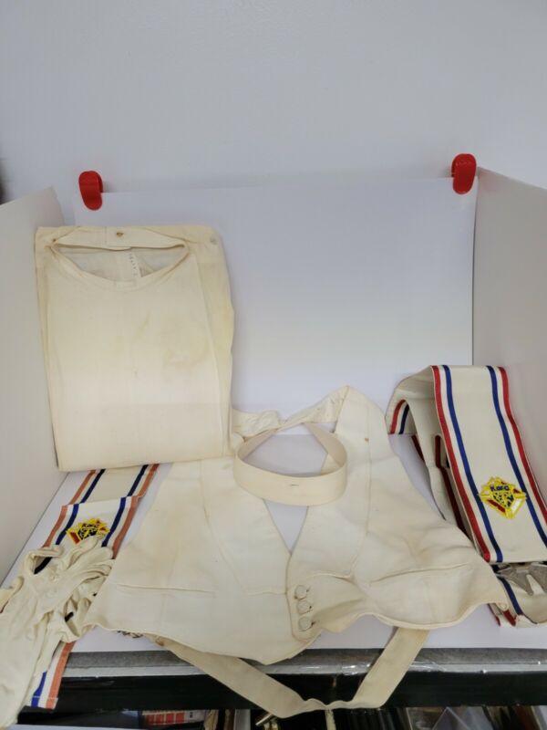 Vintage Knights Of Columbus Uniform~6 Pieces~Sash~Glove~Vest~Shirt~Ribbon~Collar