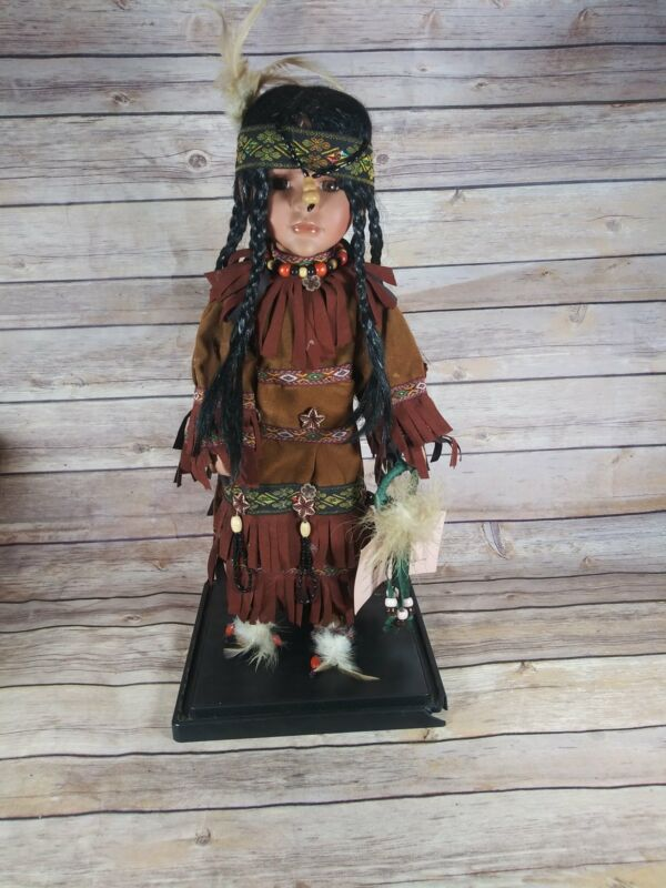 Cathay collection native american doll with stand