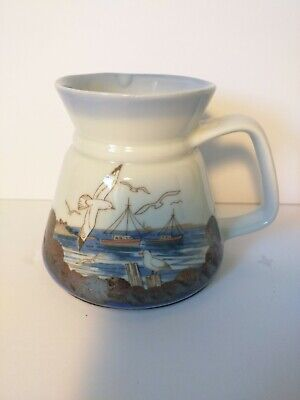 Nautical Themed Dinnerware Sets (Hand painted vase with handle with maritime theme with boats and)