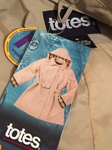 NWT Totes Womens Raincoat Trench Jacket REMOVABLE HOOD Lined Size M Khaki Plaid
