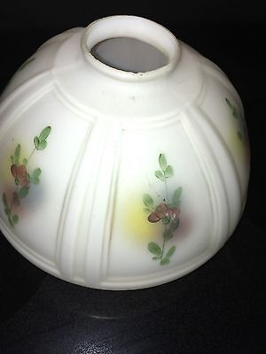 vintage frosted glass painted flowers lamp shade 4'' base