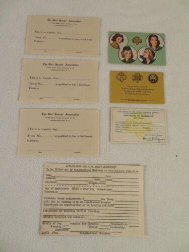 Vintage Girl Scout Card Ephemera  ~ Blank Membership Uniform Purchase Leadership