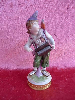 schöne,alte Porzellanfigur__Junge mit Leierkasten und Vogel__Thüringen_!