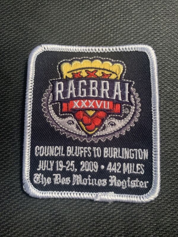 2009 RAGBRAI XXXVII Sew on Patch Des Moines Iowa Cycling Biking - Free Shipping