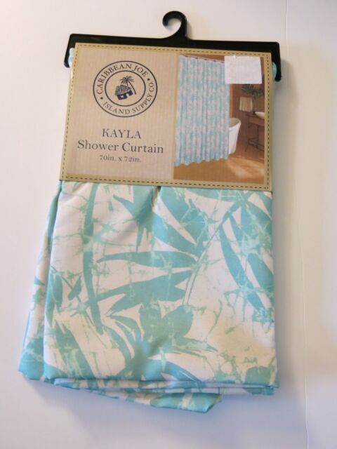 NEW Caribbean Joe Fabric Layla White Green Island Tropical Shower Curtain