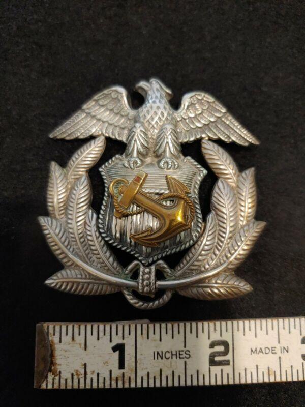 Ww2 Navy Officers Hat Badge In Sterling By Gemsco