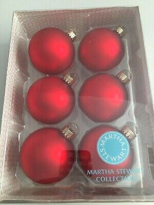 Martha Stewart Collection Macy's Set of 6 Glass Ball Ornaments 67M Matte Red