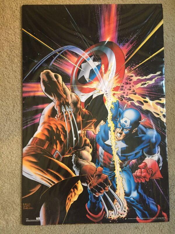 RARE Captain America Annual 8 vs Wolverine Poster 1990 Zeck Beatty 25x35
