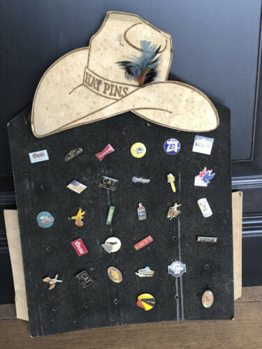 Vintage 28 Lot - Hat Pins Trucker Display Beer, Cat, Cowboy, Moosehead, Kenworth
