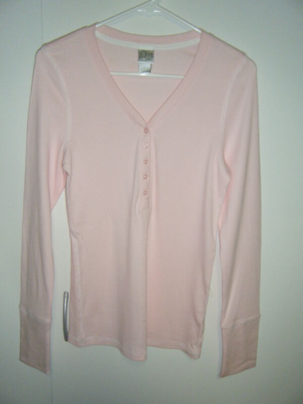 JUNIORS LARGE COTTON SPANDEX L/S PINK WITH PINK TRIM NEW