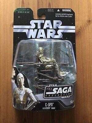 STAR WARS CARDED SAGA COLLECTION 042 C-3PO w/ EWOK THRONE RETURN OF THE JEDI