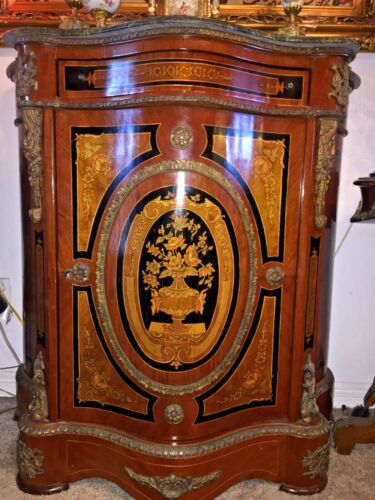 Antique Italian gilted Bronze Marble Top Commode/ Cabinet