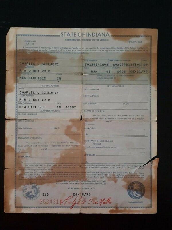 Vintage 1969 RAMBLER auto car Title INDIANA Historical Document