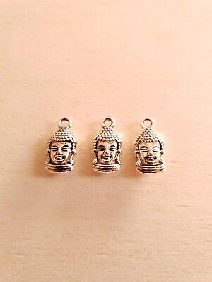 Kleine Charms (3 x Kleine Buddha Anhänger * Bewußtsein * Schmuck Basteln Deko Charms Silber)
