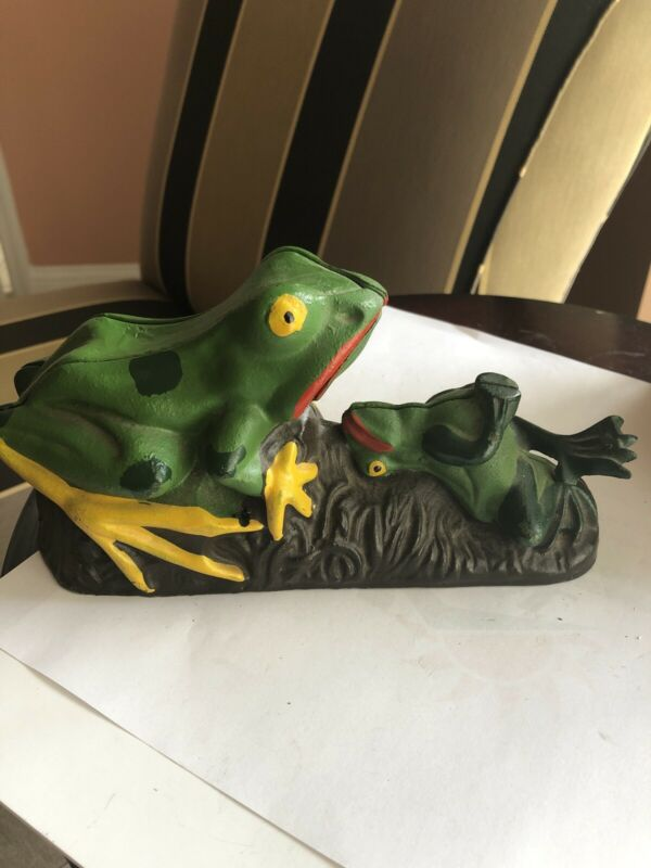 Antique TWO FROGS Mechanical Penny Bank CAST IRON