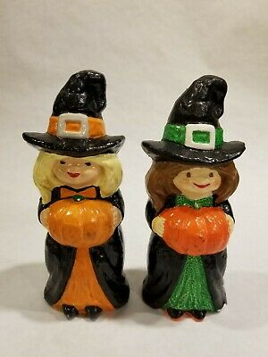 "2 VTG Ceramic Witch Figurines Holding Pumpkin Halloween Decoration 6.5"" Tall"