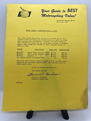 Vintage 1959 Indian Motorcycle Dealer's Accessory Release #6-84 Leather Jackets