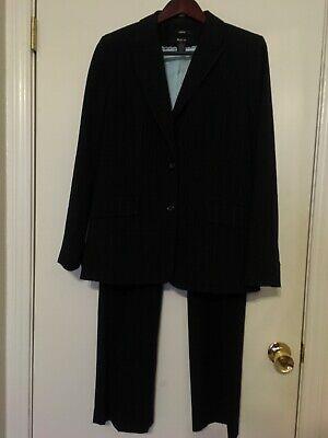 Style & Co Womens Black Pinstripe Pants Suit Jacket Size 10 Career EUC