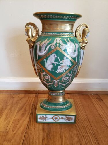 Antique 19th Century Green and Gold French Porcelain Ormolu Sevres