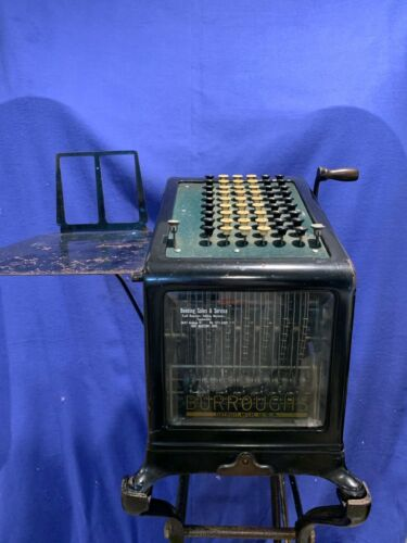 1898 Rare Antique Burroughs Adding Machine Model #4 With Cast Iron Stand A658