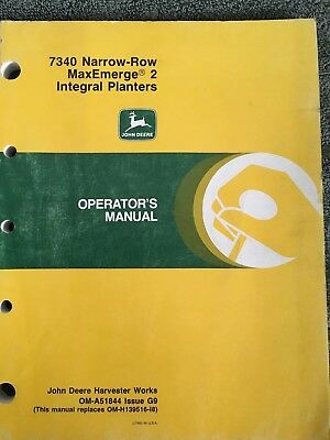 John Deere 7340 Narrow Row Maxemerge 2 Integral Planters Operators Manual