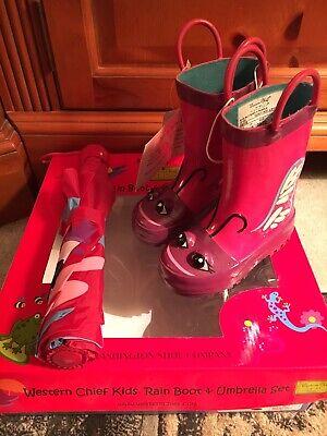 Purple Butterfly Western Chief Kids Rain Boot & Umbrella Set Size 5/6 New in Box Set Rain Boot