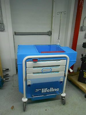 Metro Lifeline Hospital Crash Cart With Backboard I.v. Pole O2 Tank Holder