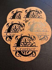 Split Letter Monogram Personalized Set Of Cork Coasters Family Wedding Name