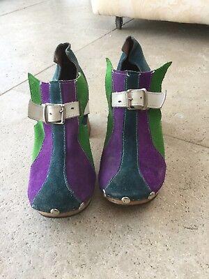 JOHN FLUEVOG Retro VINTAGE SHOES. HANDMADE. UK Size 4  WOODEN Block Heel