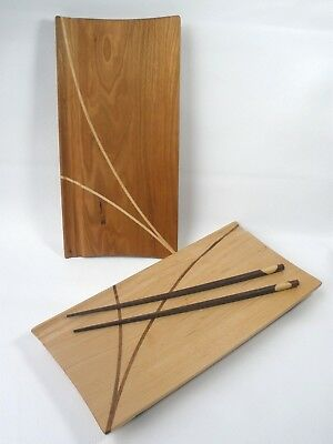 Set/2 Matt Thomas Handcrafted Cherry Wood & Maple Inlaid Sushi Trays Boards