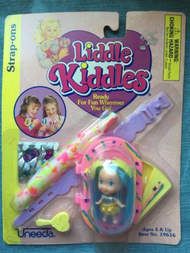 "Liddle Kiddles Strap Ons 2"" Doll Blue Hair Purple Strap Vtg 1996 Uneeda NIP"