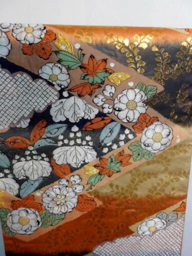 "Japanese Kimono SILK Fukuro OBI, Rokutu ,Pure gold leaf, Plants,Flower,163"".1561"