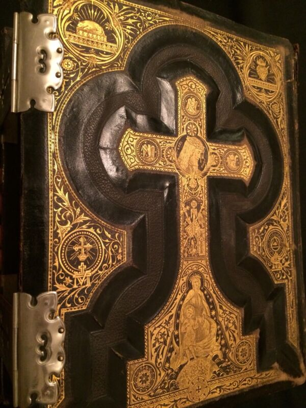Rare 1800s Large Christian Bible, Gold, Leather, Old & New Testaments, American