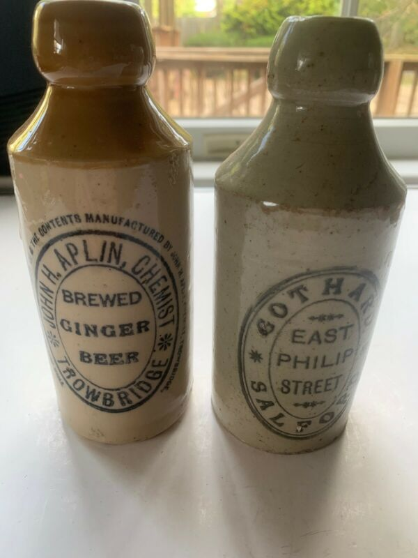 2 Vintage Ginger Beer Bottles C. 1850's