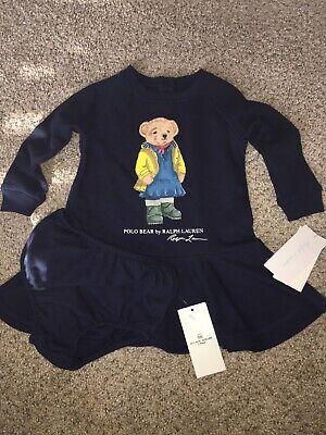 Ralph Lauren Baby Girls Terry Bear Dress with Bloomers Size 9 Months