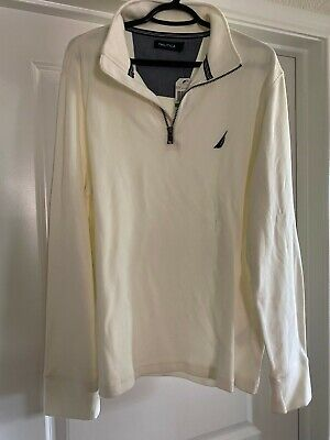 $79.50 NEW NWT MENS NAUTICA SWEATER LARGE L WHITE NICE FANCY QUALITY