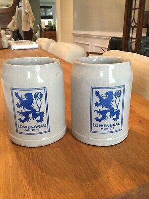 Set of 2 Lowenbrau Munich Stoneware Beer Stein/Mugs 0.5 liter