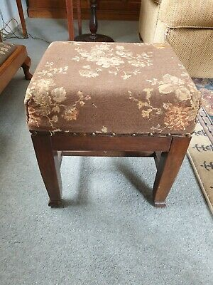 Vintage Foot Stool. Antique Upholstered  Footstool. Dark wood