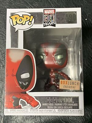 Funko Pop Metallic Deadpool #590 Marvel Box Lunch Exclusive +Protector